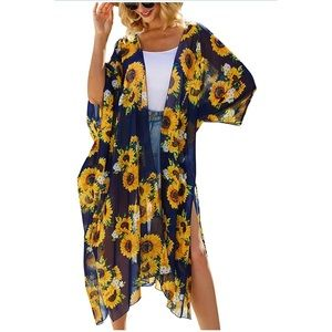 Other - Casual Cover Up Printed Kimono Cardigan Sheer